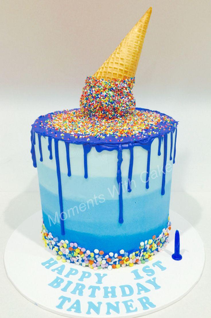 Blue ombré drip cake | Cakes | Cake, Birthday Cake, 7th ...