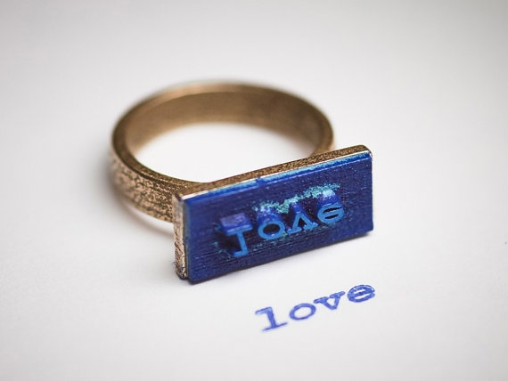 LOVE stamp ring $39: Rings Words, Statement Rings, Random Things, Rings 39, Unique Rings, Jewlery Individual, Stamps Rings, Signet Rings, Individual Rings