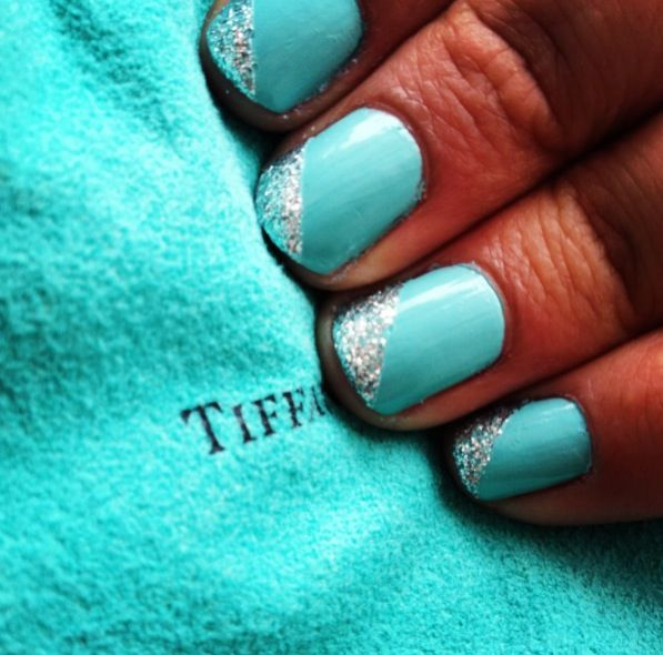 Tiffany blue nails-Bachelorette party Nails!  | See more at http://www.nailsss.com/colorful-nail-designs/2/