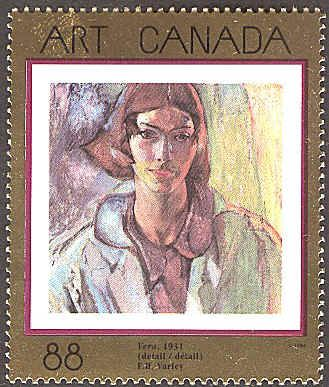 Canada 1994.  6th May.  Vera.  Detail.  Painted 1931.  National Gallery of Canada, Ottawa. Scott # 1516.  The stamp is part of Canada's Art Series, begun in 1988.  It is printed on a gold selvedge, that is difficult to reproduce on a scan.