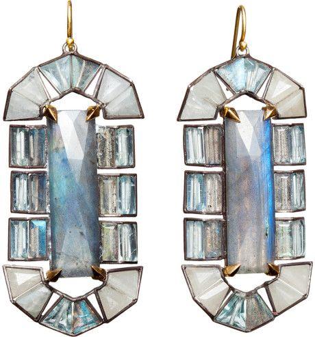 Labradorite Aquamarine White Sapphire Earrings