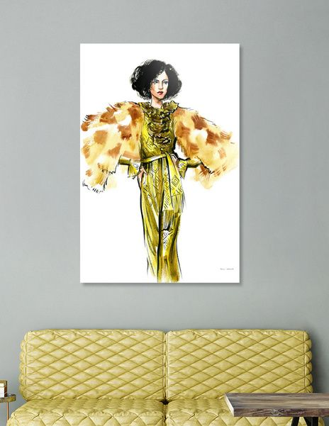 Discover «A woman in a golden dress and fur jacket», Limited Edition Acrylic Glass Print by Irina Ivanova - From $99 - Curioos
