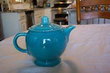 Vintage Fiesta Ware Turquoise Medium Teapot w/ Transitional Lid