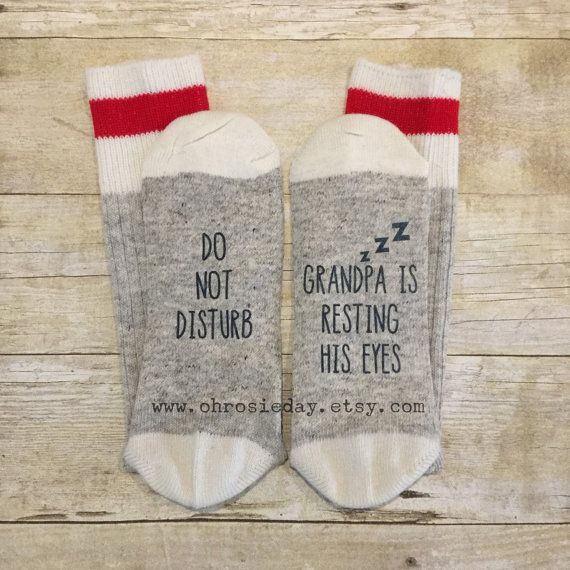 Do not disturb! Grandpa is resting his eyes! Shhhhhh!!!! PERMANENTLY PRINTED (not heat transfer vinyl like so many others!) socks wont peel or crack. Fits mens size 7-11, red stripe around the top with a white toe and heel cap. Buying 3 pairs? Use coupon code 3SOCKS for $5 CDN off your purchase! Buying 6 pairs? Use coupon code 6SOCKS to save $10 CDN! 9 pairs? Big spender!! Youre my favourite! Use coupon code 9SOCKS for $15 CDN off your purchase! *Mix and match between any of the socks in my…
