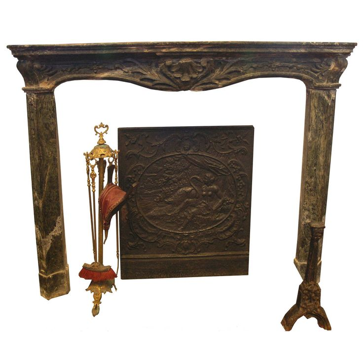 Antique Verde Alpi Marble Fireplace Mantel