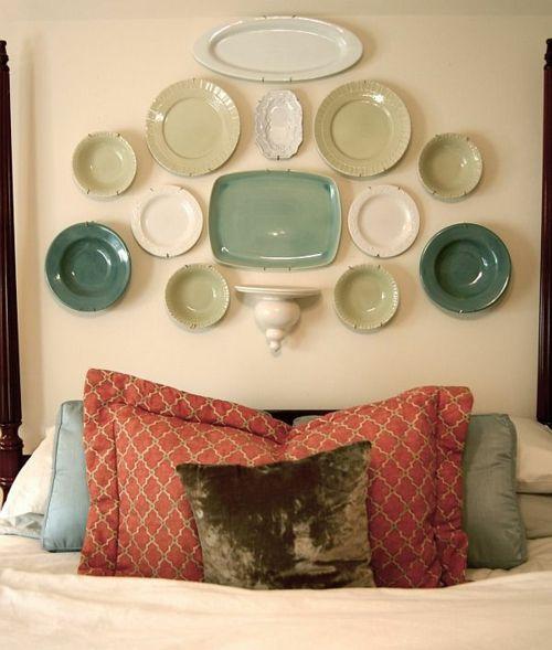 DIY Vintage Kopfteil für Ihr Bett selber machen keramisch grün