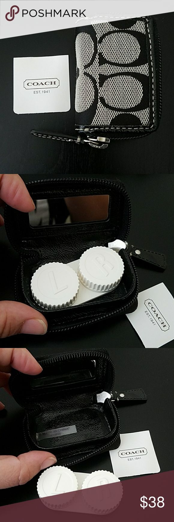 NWT Coach Signature black white contact lens case Brand new Coach contact lens case. Never used. Coach Accessories