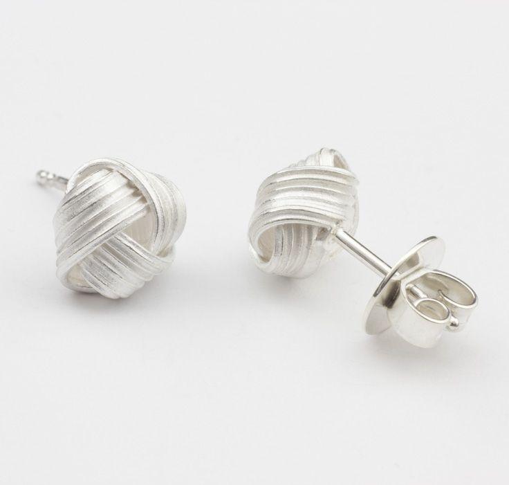 Verpackt Knoten Sterling Silber Ohrstecker