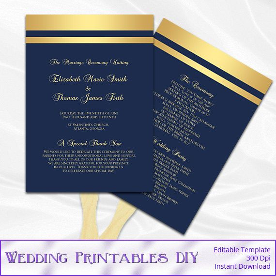 Navy And Gold Wedding Fan Program Template By WeddingPrintablesDiy