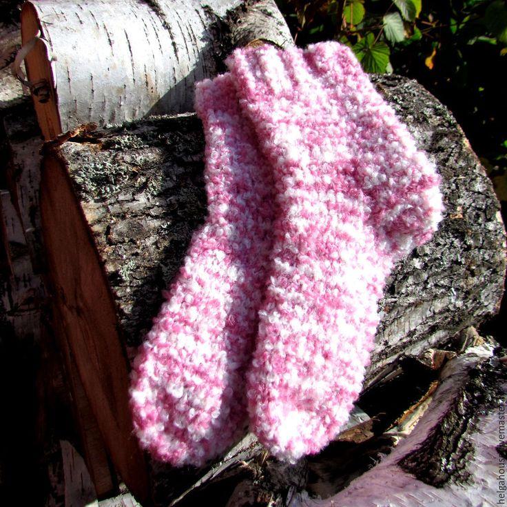 """Купить Носки вязаные женские """"Малиновое суфле"""" - розовый, однотонный, носки ручной работы"""