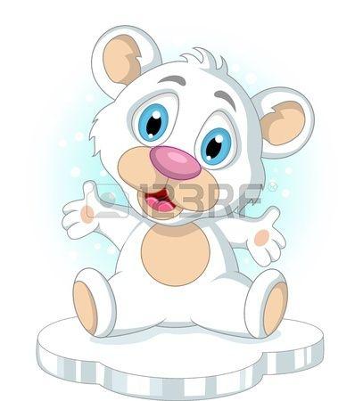 mignonne petite polaire caricature agitant ours Banque d'images