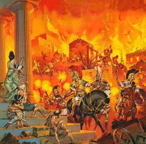 Alexander the Great destroys Thebes sparing only the temples, by Angus McBride