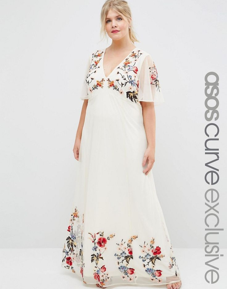Asos curve salon floral maxi dress in embroidered mesh