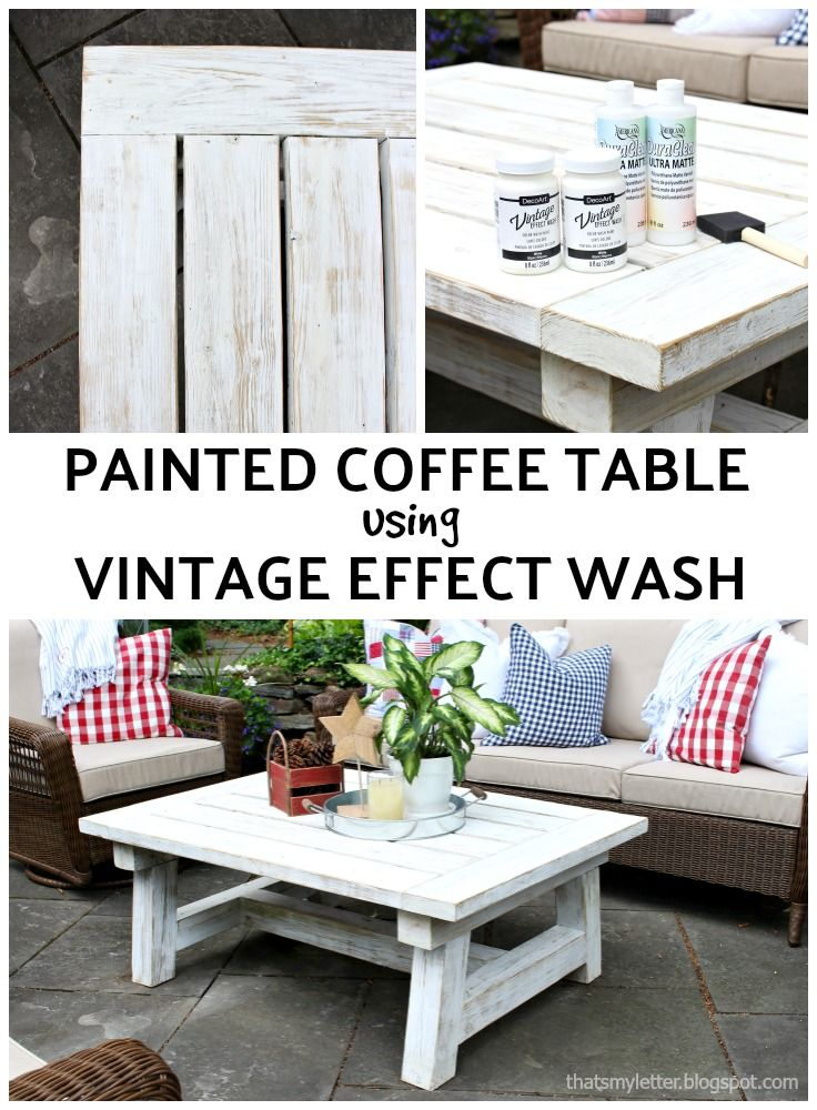 painted coffee table using vintage effect wash