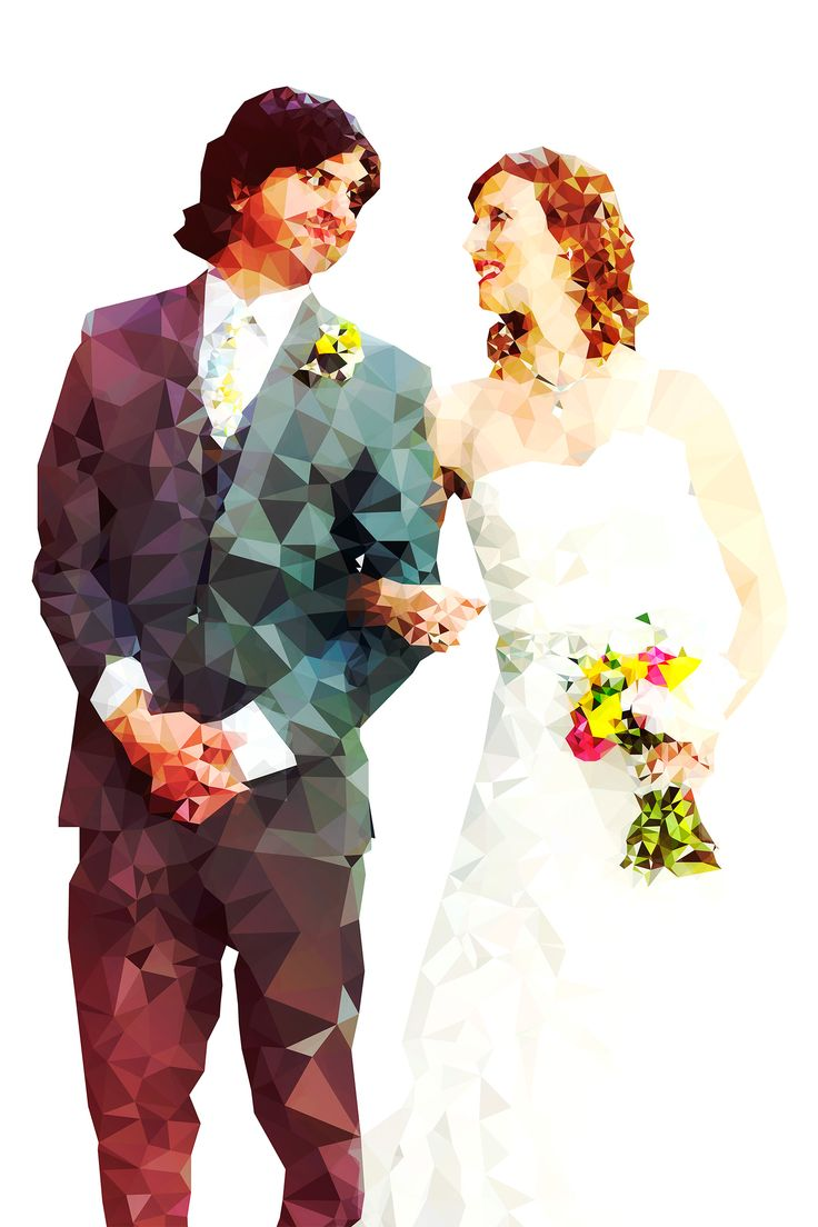 Meghan & Rob. Beautiful white dress, handsome suit, happy couple. Gorgeous, crystalline-style illustration from Kevin Halfhill Modern Art & Design. Visit my site for more info and pricing: http://wearehlfhill.com/work/weddings/