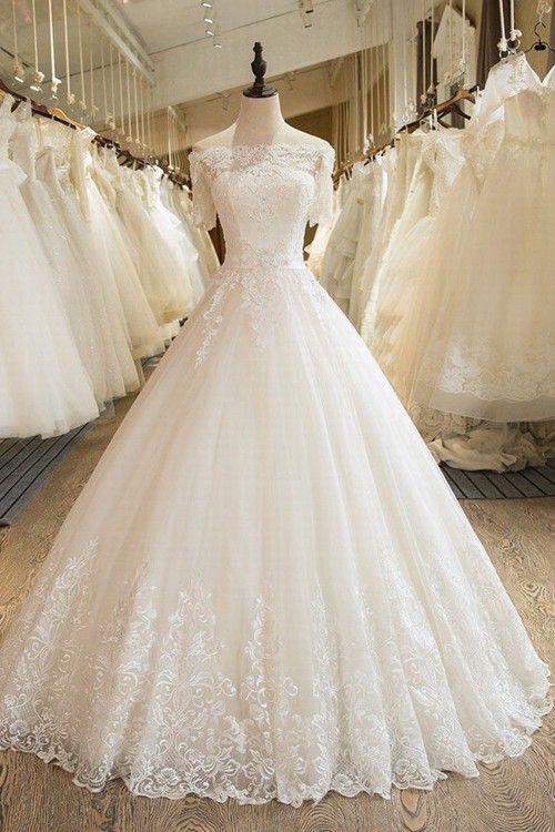 A-line Off Shoulder Floor Length Organza Bridal Wear Lace