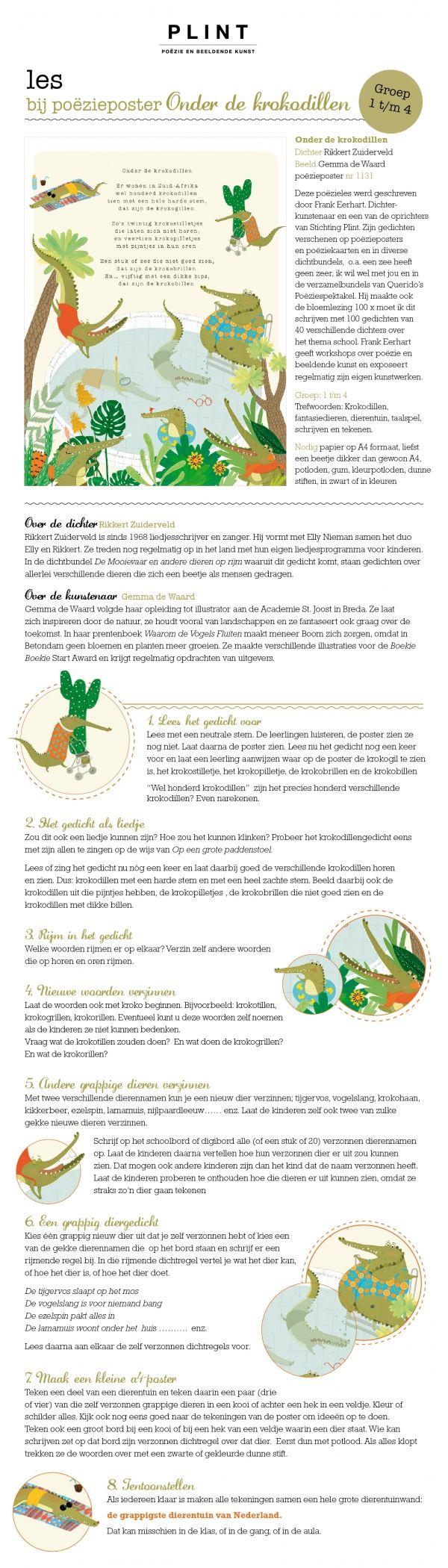 'Onder de krokodillen' door Rikkert Zuiderveld. Les bij poëzieposter van Plint - poëzie en beeldende kunst. Illustratie: Gemma de Waard