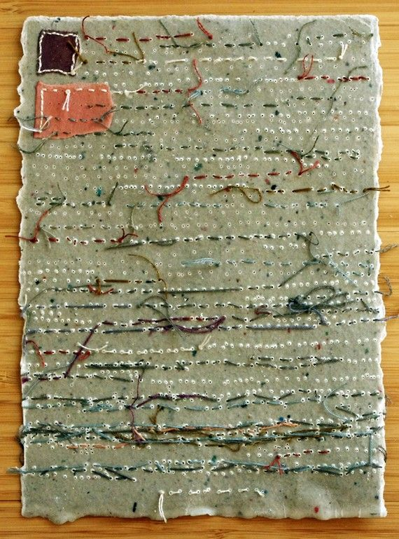 Hand Embroidery on Handmade Paper / Lost Book Page by Patti Roberts-Pizzuto of Missouri Bend Studio http://www.etsy.com/shop/missouribendstudio #art #sewing