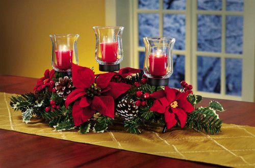 Christmas Candle Holder Pinecones Red Poinsettia Centerpiece Fireplace Decor New #SmartDealsMarket