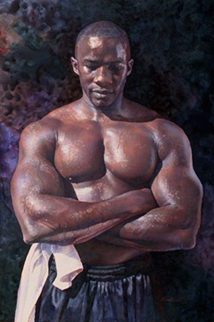 """A Powerful Presence"" - Steve Hanks (American, 1949–2015), watercolor {figurative art male chest muscular african-american black man torso painting #arthistory #loveart} stevehanksartwork.com"