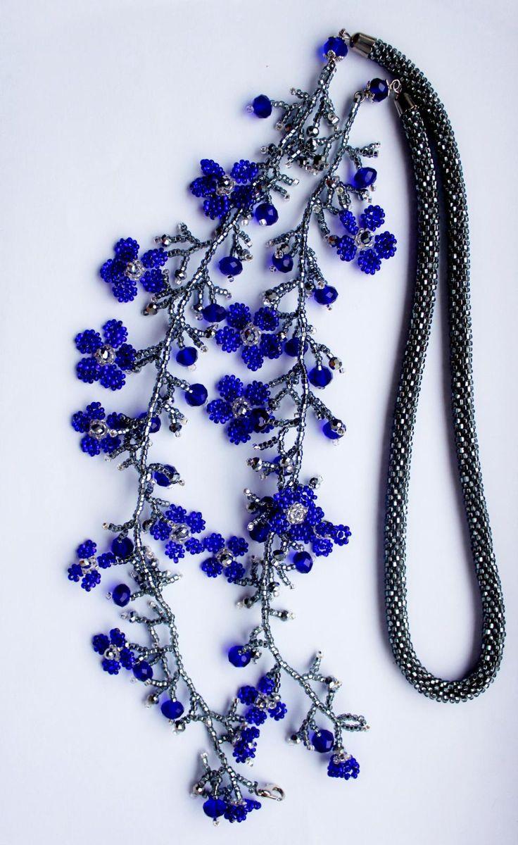 "Жгут ""Синие цветочки"" | biser.info - всё о бисере и бисерном творчестве"