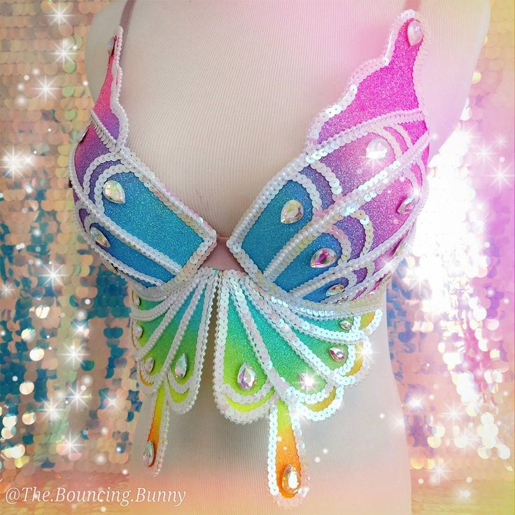"""Rainbow butterfly rave bra EDC Outfit Inspiration plur festival fashion edm girls rhinestone neon glitter ombre sequin sparkle costume  (@the.bouncing.bunny) on Instagram: """" ️Can you paint with all the colors of the wind ️"""""""