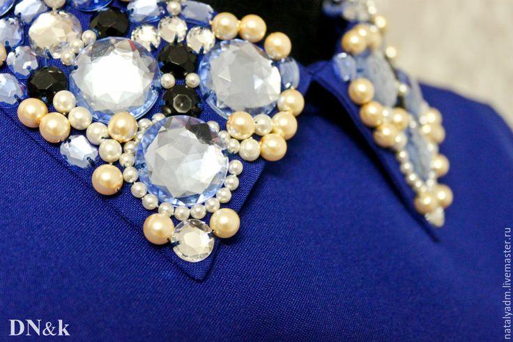 Купить Платье с расшитым воротником - темно-синий, однотонный, платье, воротник, расшитый, расшитый воротник