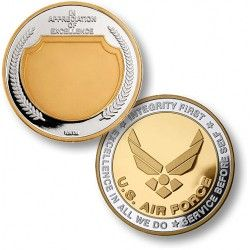 In Appreciation USAF Emblem in 1 Troy Ounce of .999 Pure Silver 24kt Gold Enhanced  This proof coin is minted in one Troy ounce of .999 pure silver, then selectively enhanced in 24K gold. Each coin comes mounted in a museum-quality leatherette presentation box and ready to be proudly displayed.    https://store.nwtmint.com/product_details/3776/In_Appreciation_USAF_Emblem_in_1_Troy_Ounce_of_.999_Pure_Silver_24kt_Gold_Enhanced/