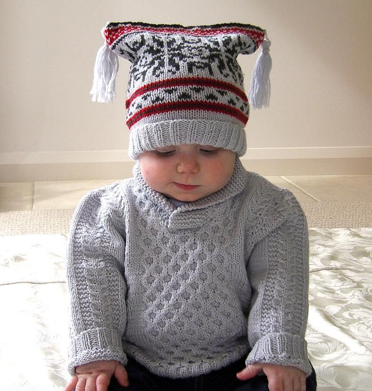 Baby jumper with fair isle hat & boots  pattern on Craftsy.com