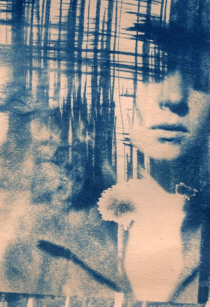 interesting cyanotype collage. using painting techniques and photographs.