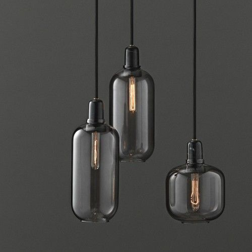 Normann Copenhagen AMP Large hanging lamp smoke black