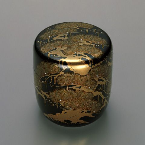 Urushi lacquer tea caddy by National Living Treasure of Japan, Kazumi MUROSE (1950~)