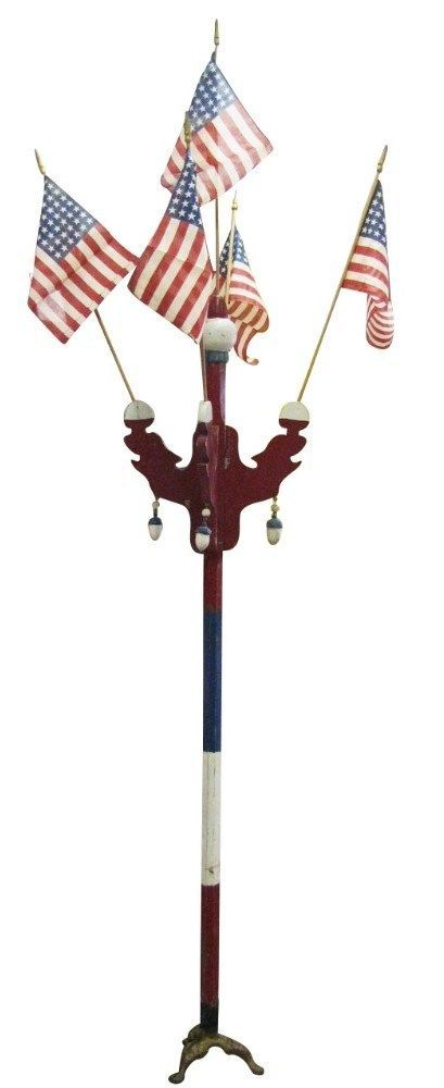 Vintage Patriotic Parade Route Marker Flag Stand  With Flags Shipping Available