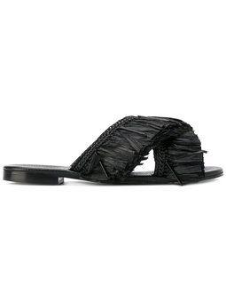fringed trim flip flops