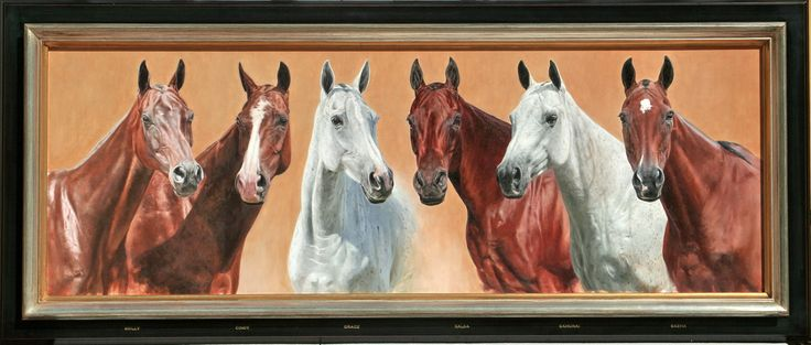 Commissioned portrait of Lyndon Lea's polo pony string on which he won the British Open ( Gold Cup) in 2011. Oil on canvas 50cm x 178 cm