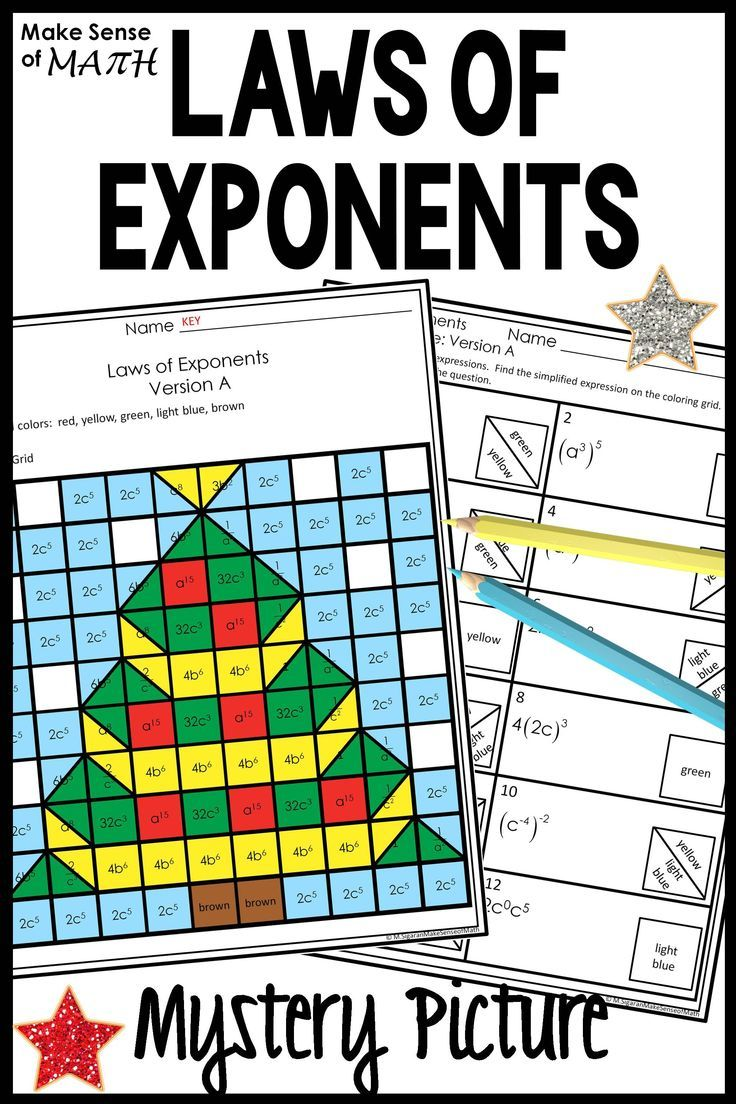 Christmas Math Activity Worksheets Laws Of Exponents Maths Activities Middle School Christmas Math Activities Math Activities