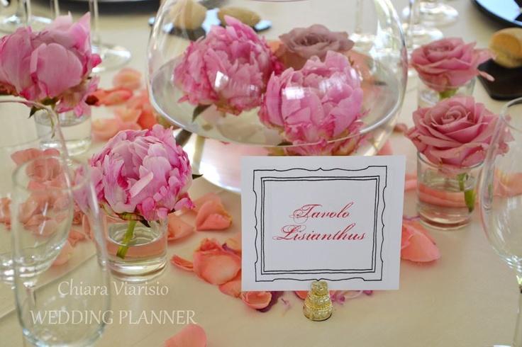 wedding centerpieces , wedding reception , peonias centerpieces  wedding in the langhe area - Italy