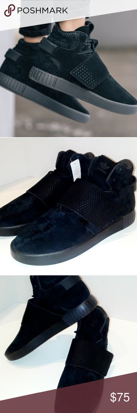 Adidas tubular invader strap all black sneakers These sneakers are new with tags (NO box)! They have never been worn. ❤all black ❤size 11.5 ❤NEW ❤Laces and front velcro strap ❤high top  ❤114955161    (there is a small silver pen mark smear on the bottom of the right shoe from a pen price marker, barely noticeable.) adidas Shoes Sneakers