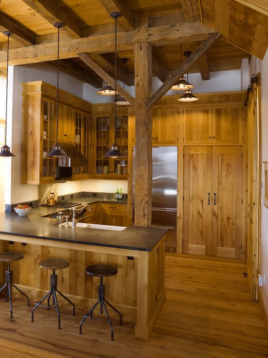 Cabin Kitchen Design, Pictures, Remodel, Decor and Ideas.... That post would get on my nerves but I love this look