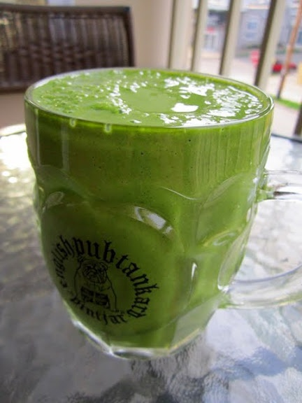 Green dreamsicle smoothie - a cup of liquid yogurt, an orange, 1 ...