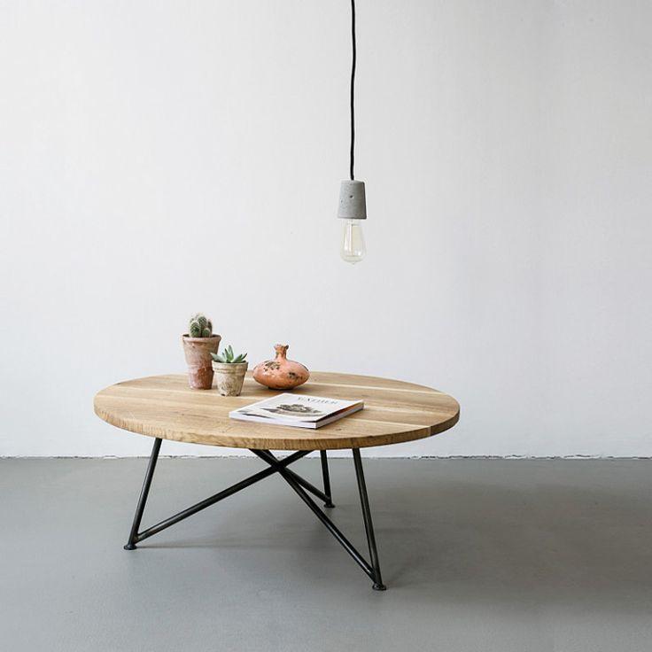 Runder Sofa Tisch Massive Eiche Marmor Stahlgestell Sofa Tisch Couchtisch Rund Wohnzimmertische