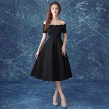 2016 Mode Little Black Robes De Bal Bateau Cou Hors-la-épaule Manches Courtes Thé-longueur De Mariée Banquet formelle Robe De Bal(China (Mainland))