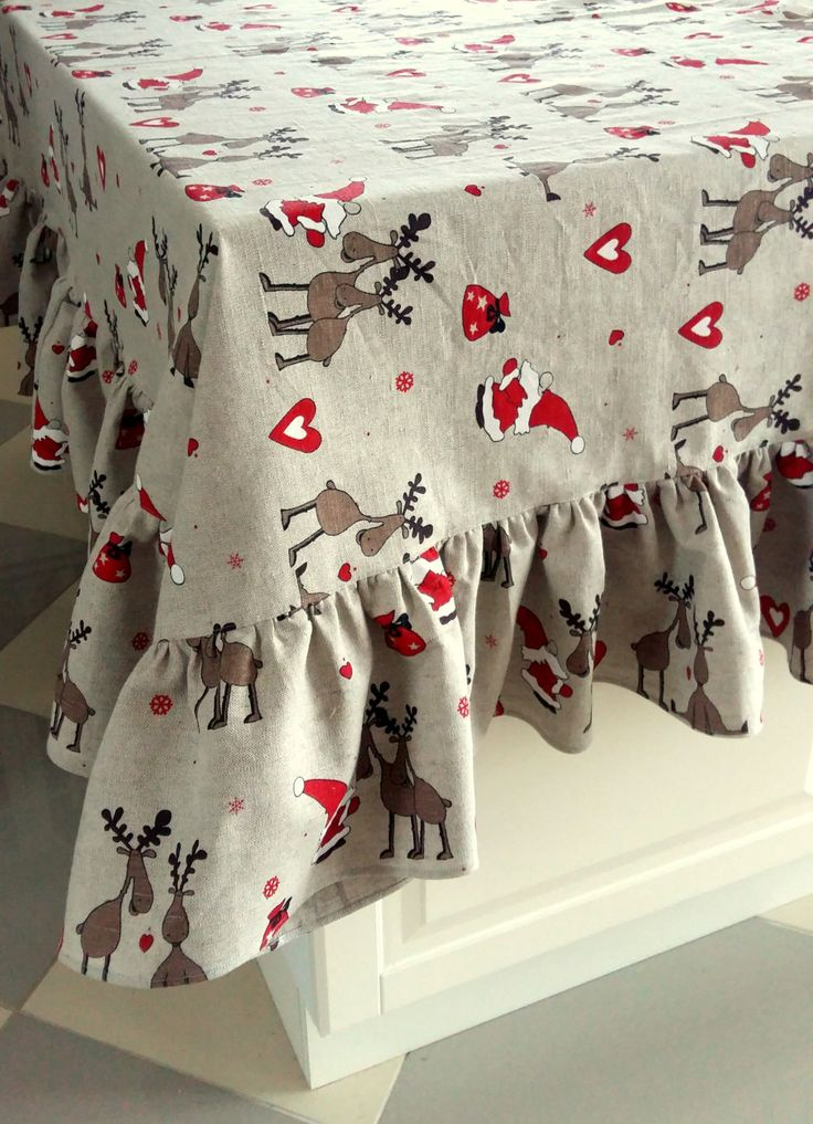 Square Tablecloth Christmas Tablecloth Linen Tablecloth Christmas Gift Ruffled Tablecloth Burlap Tablecloth Prewashed Rudolph Reindeer by Initasworks on Etsy