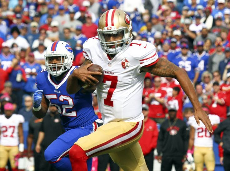 49ers vs. Bills:     October 16, 2016  -  45-16, Bills  -    San Francisco 49ers quarterback Colin Kaepernick (7) runs past Buffalo Bills inside linebacker Preston Brown (52) during the first half of an NFL football game on Sunday, Oct. 16, 2016, in Orchard Park, N.Y. (AP Photo/Jeffrey T. Barnes)