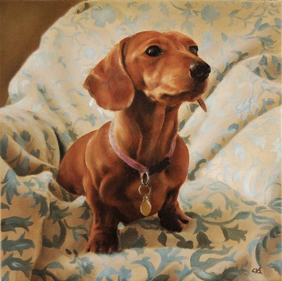 Dogs in Art at the StockBridge Gallery - Miniature Red Dachshund Painting by Claire Eastgate (http://www.dogsinart.com/miniature-red-dachshund-painting-by-claire-eastgate/)