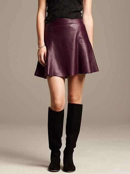 Burgundy Leather Fit-and-Flare Skirt