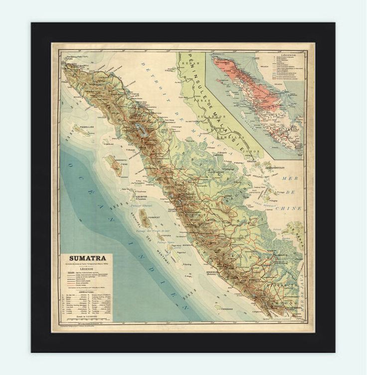 Old Map of Sumatra Island Indonesia 1922