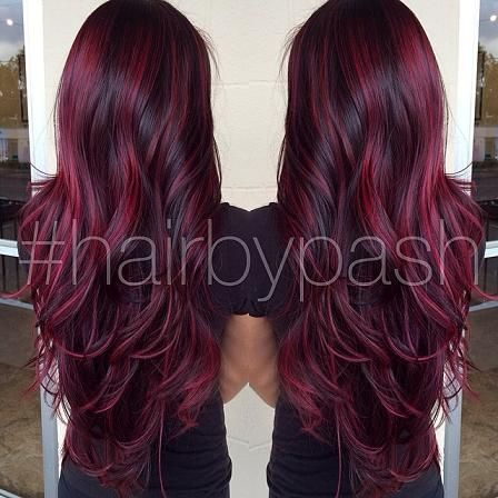 dark burgundy highlights | Magenta Highlights – This look from @hairbypash is stunning. The ...