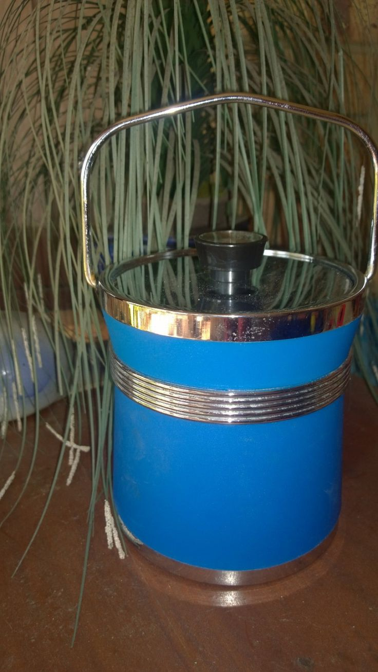 Blue Stainless Steel Ice Bucket - Vintage Item by TheBusyTipsyGipsy on Etsy