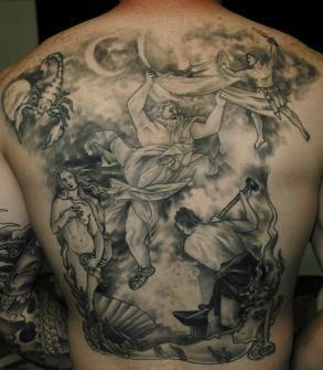 Greek mythology tattoos spectacular greek god mythology for Back mural tattoo designs